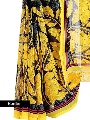 yellow and black chiffon printed saree with blouse - 9547156 - Standard Image - 4