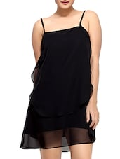 Black Polyester Georgette  Sleeveless Shift Dress - By