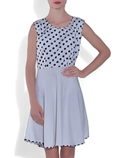 White Polka Dots Poly Crepe Dress - By
