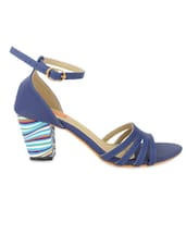 Navy Blue Faux Leather Block Heel Sandals - By