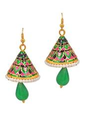 Green- Pink Meenakari Jhumki Earrings - Maayra