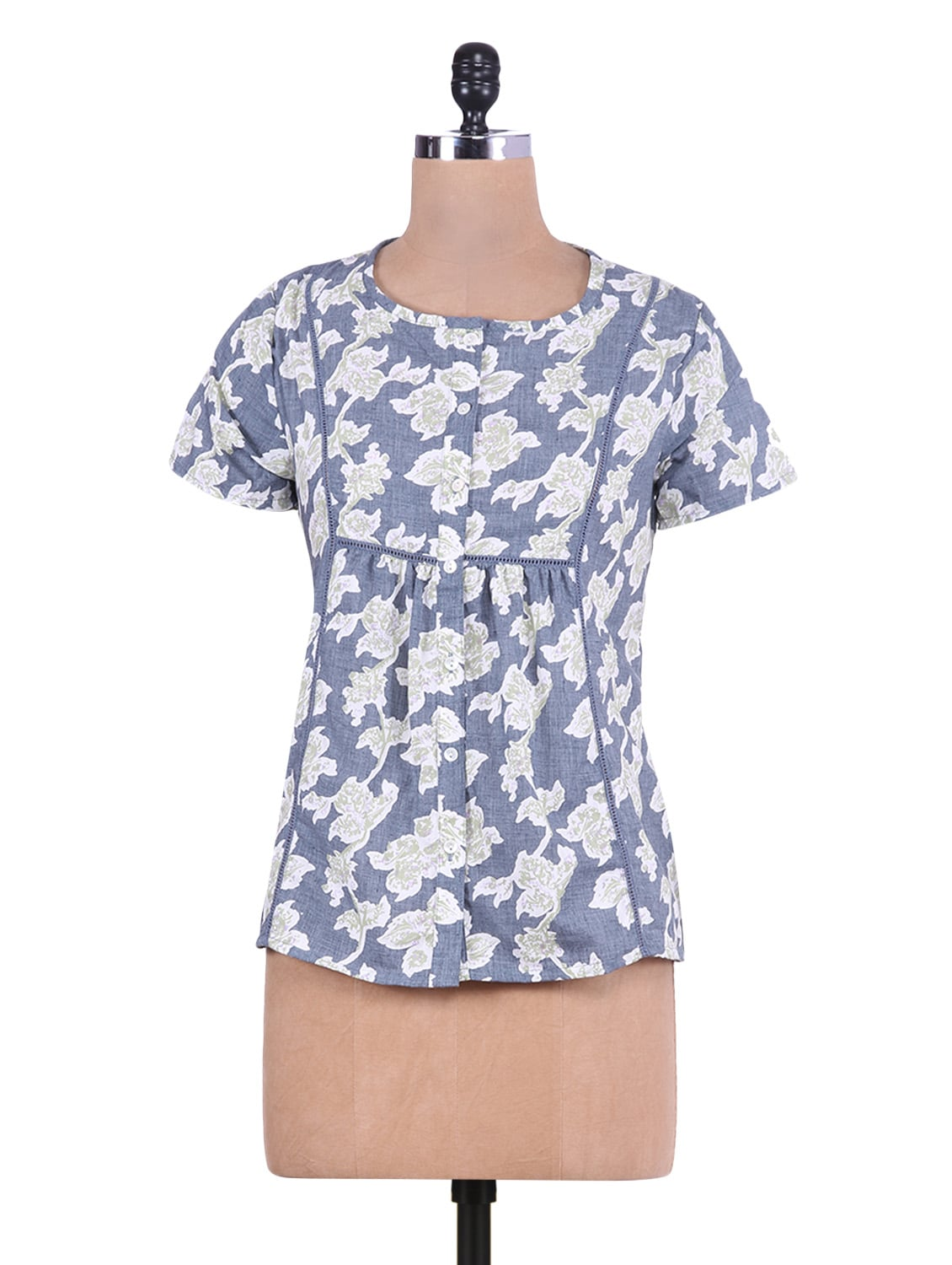 Indigo And Grey Floral Printed Cotton Top - By