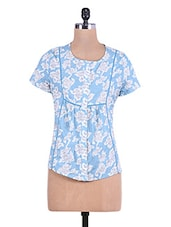 Light Blue Floral Printed Cotton Top - By