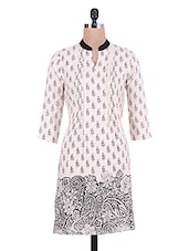 Off-White Floral And Paisley Printed Rayon Kurta - By