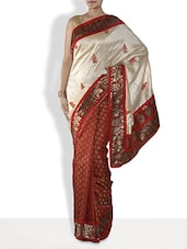 Red Embroidered Half And Half Silk Saree - By