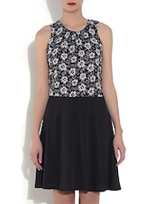 Black Polyester Floral Printed Sleeveless A-Line Dress - By