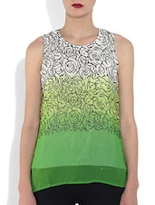 Green Polyester Printed Sleeveless Top - By