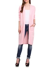 Pink Cotton Knit Long Sleeved Cardigan - By