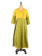 Green And Yellow Printed Kurta - Desiweaves
