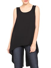 Black Georgette Sleeveless Hi-Lo Top With Slit - By