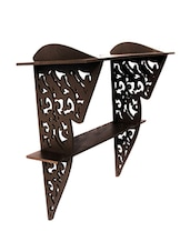 Brown Wooden Wall Bracket With Abstract Cutwork - By
