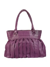 Solid Purple Pleated Handbag - Bags Craze