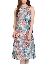 Abstract Printed Multicolor Polyester Midi Dress - By
