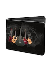 Black Leather Beautiful Guitars Leather Wallet - By