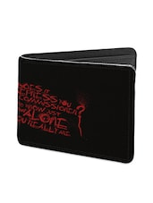 Black Leather Quoted Leather Wallet - By