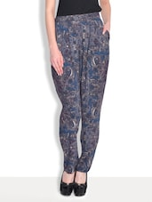 Blue Rayon Printed Full Length Pant - By