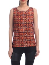Red Polyester Printed Sleeveless Top - By