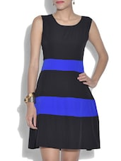 Blue And Black Polygeorgette Sleeveless Dress - By