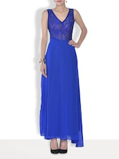 Blue Printed Net Maxi Dress - By