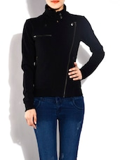 Solid Black Cotton Jacket - By