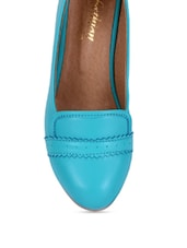 Sky Blue Faux Leather Wedge Ballerinas - By