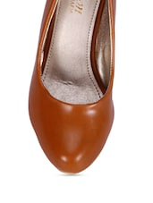 Brown Faux Leather Block Heeled Ballerinas - By