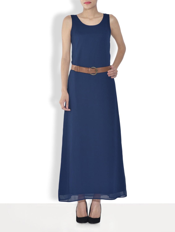 Navy Blue Polyester Sleeveless Maxi Dress - By