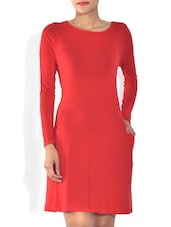 Solid Red Viscose Full Sleeves Dress - By