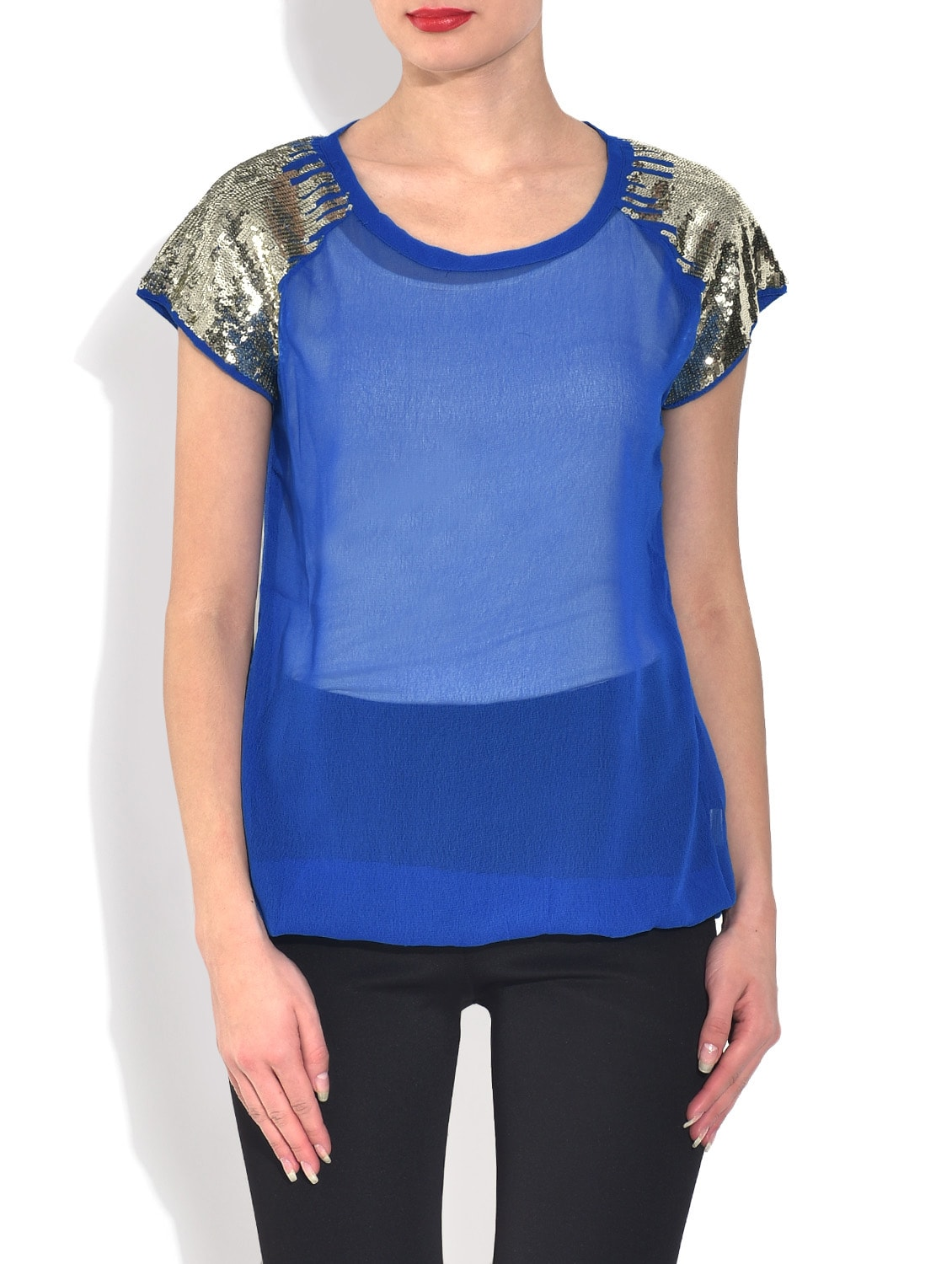 de4c22244657a Buy Solid Blue Embellished Top by Mayra - Online shopping for Tops in India