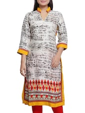 Offwhite And Black Cotton Printed Kurta - By