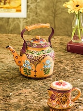 Multicolored Stainless Steel Painted Kettle And Milk Pot Set - By