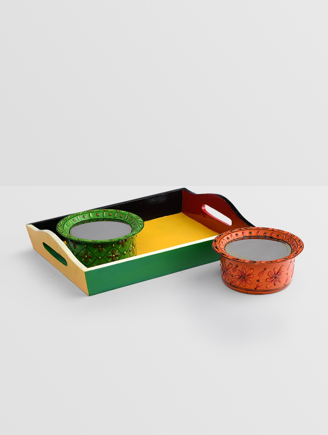multicolored stainless steel bowl and tray set