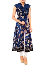 Navy Blue Cotton Floral Print Kurti - By