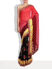 Embellished And Embroidered Red And Black Georgette Saree - By