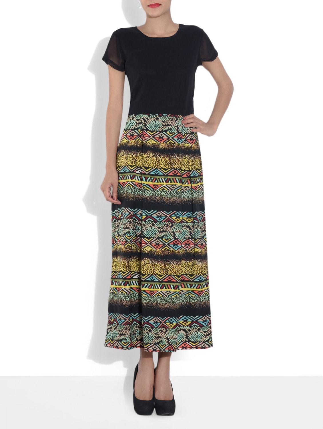 Black Printed Poly Crepe Maxi Dress - By