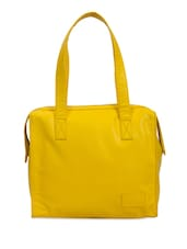 Solid Yellow Faux Leather Handbag - By
