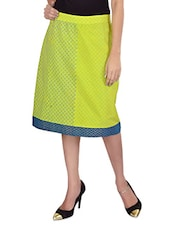 Lime Green Printed Knee Length Skirt - 9rasa