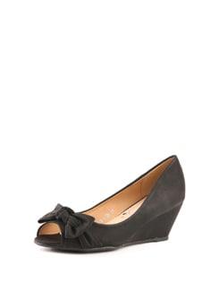 Black Peep Toe Wedge Sandals - Solo Voga