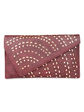 Red Leatherette Cut Worked Sling Bag - By