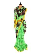 Light Green Floral Print Saree - Sixmeter