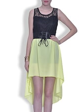 Black And Lemon Yellow Hi-Lo Dress With Belt - By