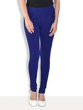 Solid Royal Blue Cotton Lycra Jeggings - By