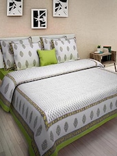Green And White Cotton Printed Double Bed Quilt - By