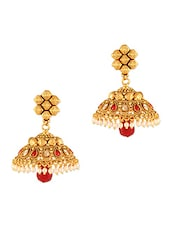 Gold and Red Faux Pearl Beaded Earrings -  online shopping for Body Jewellery