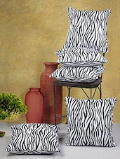 White And Black Printed Cotton Cushion Covers (Set Of 5) - By