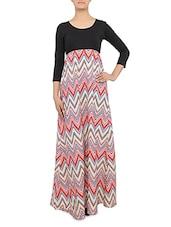 Multicolored Chevron Printed Empire Maxi Dress - By