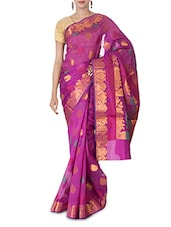 Purple Leaf Motif Art Silk And Zari Saree - By