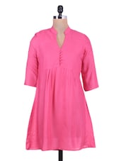 Solid Pink Gathered Rayon Top - By