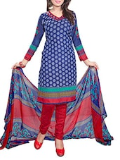 Printed Dark Blue Crepe Semi-Stitched Dress Material - By