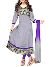 Embroidered Grey Cotton Semi-Stitched Dress Material - By